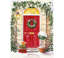 Red Door decorated for Christmas Photographic Print