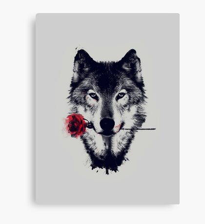 The Wolf With a Rose Canvas Print