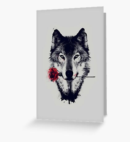 The Wolf With a Rose Greeting Card