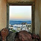 Santorini-Scene through window-Oia by milton ginos