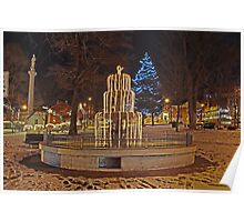 Fountain at Christmas Poster