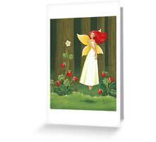 Strawberry Fairy talking with strawberries Greeting Card