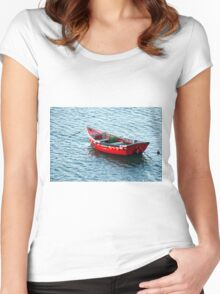 Red Fishing Boat Women's Fitted Scoop T-Shirt