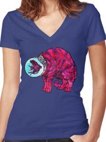 CATFISHTRONAUT (magenta) Women's Fitted V-Neck T-Shirt
