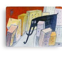 Elephant in the City Canvas Print