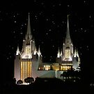 San Diego Temple Starry Night 20x24 by Ken Fortie