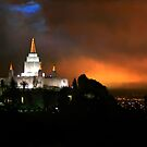 Oakland Temple at Sunset 20x30 by Ken Fortie