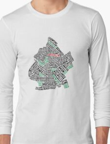 Brooklyn New York Typography Map Long Sleeve T-Shirt