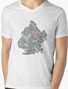 Brooklyn New York Typography Map Mens V-Neck T-Shirt