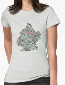 Brooklyn New York Typography Map Womens Fitted T-Shirt