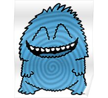 Funny Fuzzy Friend Blue Poster
