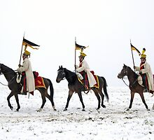 Three horse riders with war banners  by slunicko