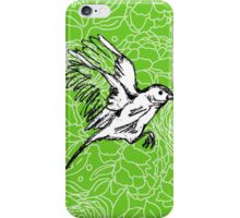 Landing Bird on Floral-Green iPhone Case/Skin