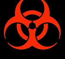 Biohazard symbol, Biological hazard, BIO HAZARD, in red & black by TOM HILL - Designer