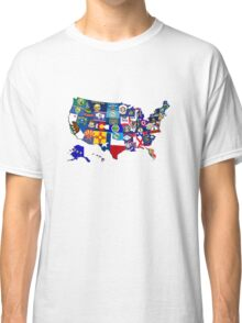 USA State Flags Map Mosaic Classic T-Shirt