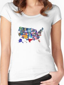 USA State Flags Map Mosaic Women's Fitted Scoop T-Shirt