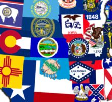 USA State Flags Map Mosaic Sticker