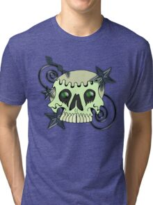 Skull with spirals & stars Tri-blend T-Shirt