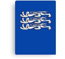 Three Lions, 3 LIONS, Royal Banner of England, UK, Britain, British, Knights, on ROYAL BLUE Canvas Print