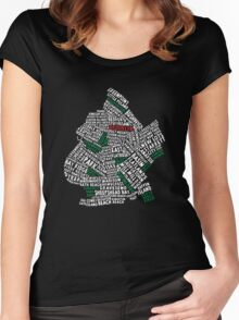 Brooklyn New York Typography Map Women's Fitted Scoop T-Shirt