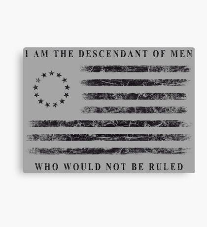Descendant of Liberty - Flag (Black) Canvas Print