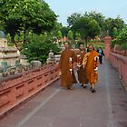 The Monks at Mahabodhi Temple. by Mukesh Srivastava