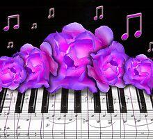 Piano Keyboard Purple Roses by dreamlyn