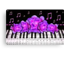 Piano Keyboard Purple Roses Canvas Print