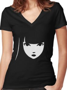 Emily the Strange: Emily's face Women's Fitted V-Neck T-Shirt