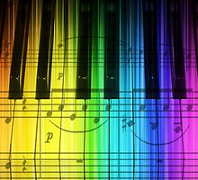 Colorful Piano Keyboard and Notes by dreamlyn