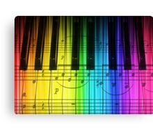 Colorful Piano Keyboard and Notes Canvas Print