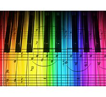 Colorful Piano Keyboard and Notes Photographic Print