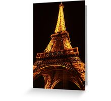 Glowing Gold Eiffel Greeting Card