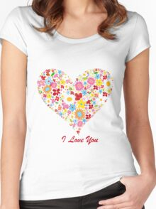 Cute Flowers Big Heart Women's Fitted Scoop T-Shirt