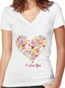 Cute Flowers Big Heart Women's Fitted V-Neck T-Shirt