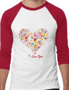 Cute Flowers Big Heart Men's Baseball ¾ T-Shirt
