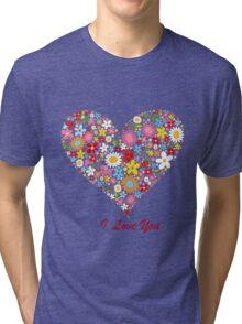 Cute Flowers Big Heart Tri-blend T-Shirt