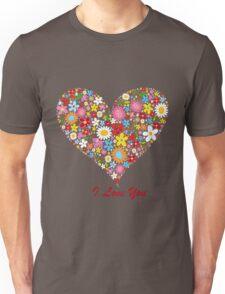 Cute Flowers Big Heart Unisex T-Shirt