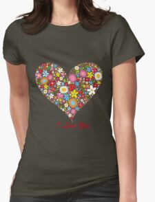 Cute Flowers Big Heart T-Shirt