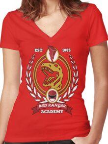 Red Ranger Academy Women's Fitted V-Neck T-Shirt