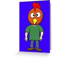 Crazy chicken dude cartoon graphic mens geek funny nerd Greeting Card