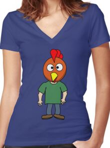 Crazy chicken dude cartoon graphic mens geek funny nerd Women's Fitted V-Neck T-Shirt