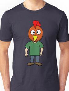 Crazy chicken dude cartoon graphic mens geek funny nerd Unisex T-Shirt