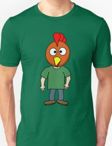 Crazy chicken dude cartoon graphic mens geek funny nerd T-Shirt