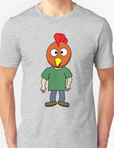 Crazy chicken dude cartoon graphic mens geek funny nerd T-Shirt