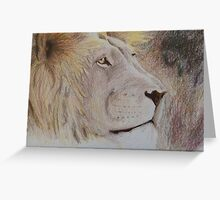 Watchful Lion in Pencil Crayon Greeting Card