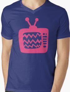 Vintage Pink Cartoon TV Mens V-Neck T-Shirt