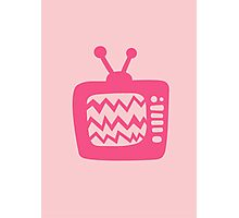 Vintage Pink Cartoon TV Photographic Print