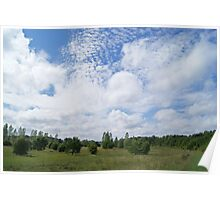 Rolling clouds over plains Poster