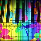 Psychedelic Piano Keyboard and Flowers by dreamlyn